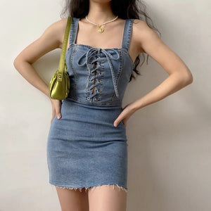 Old Wash Denim Dress ~ HANDMADE