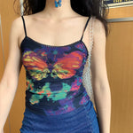 Y2K Butterfly Infrared Cami - HANDMADE