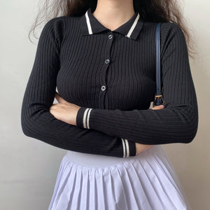 Load image into Gallery viewer, Uniform Polo Knit Top ~ HANDMADE