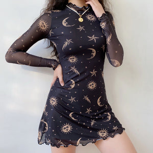 Universe Mesh Body-Con Dress ~ HANDMADE