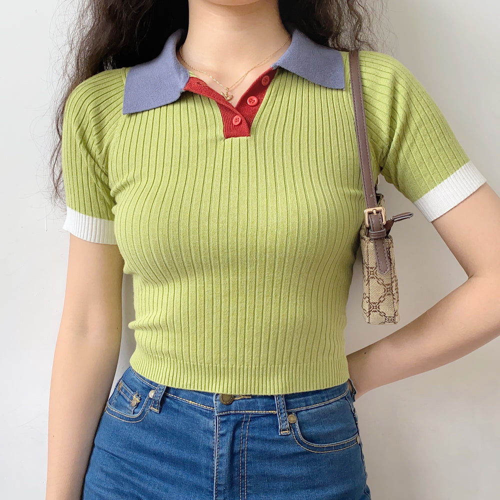 Retro Colorblock Knit Polo  ~ HANDMADE