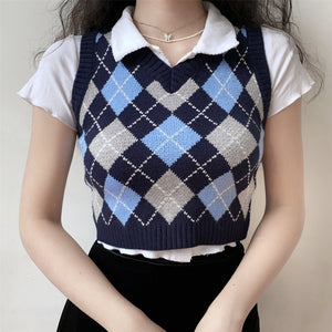 Retro Baby Argyle Knit Vest