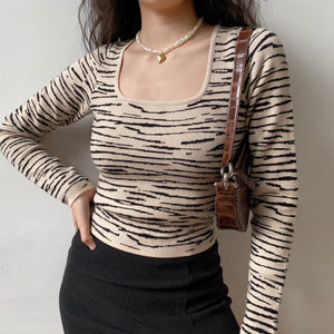 Neutral Tiger Knit Sweater ~ HANDMADE