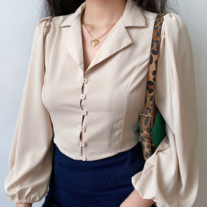 Load image into Gallery viewer, Monroe Champagne Silk Blouse