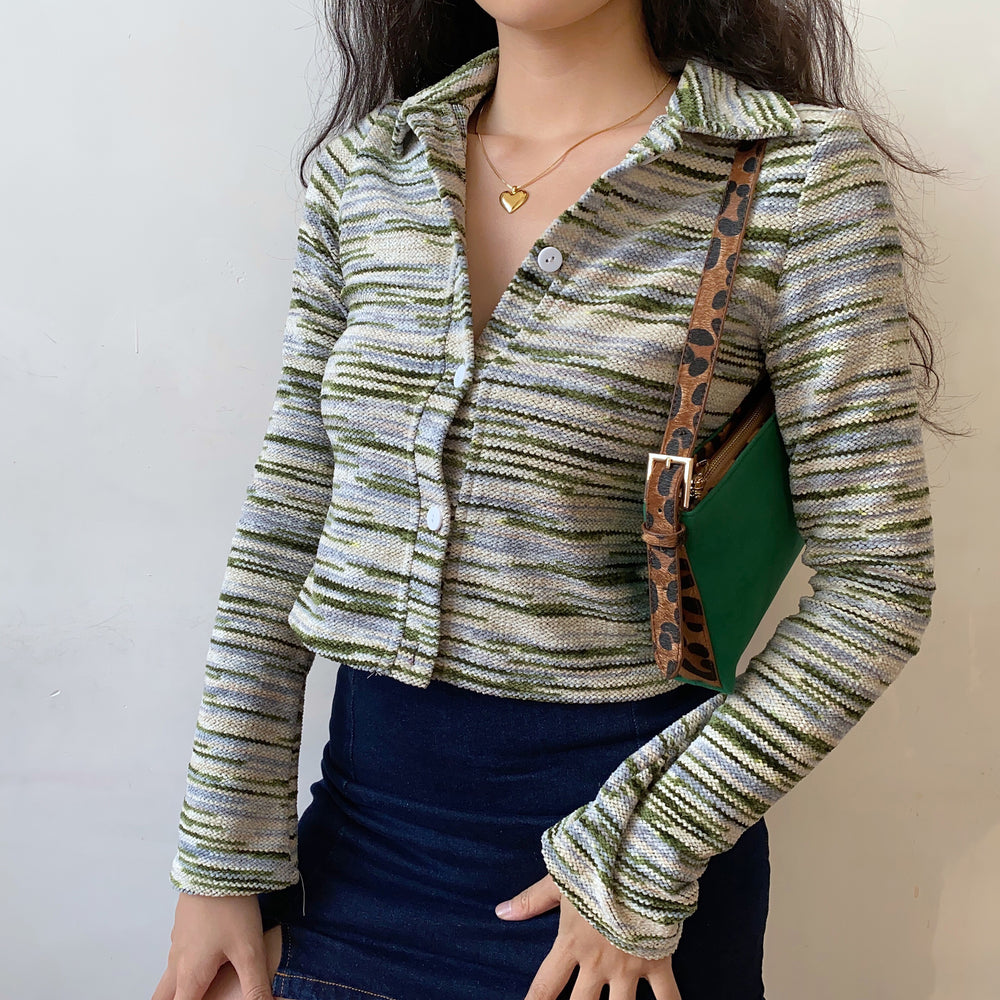 Earthy Tones Striped Cardigan ~ HANDMADE