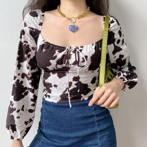 Load image into Gallery viewer, Cow Print Longsleeve Top ~ HANDMADE