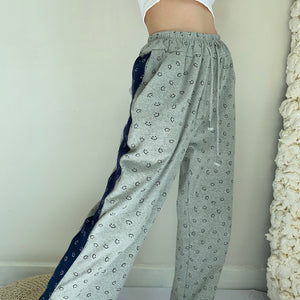 Load image into Gallery viewer, Smiley Face Split Sweat Pants ~ HANDMADE // Grey