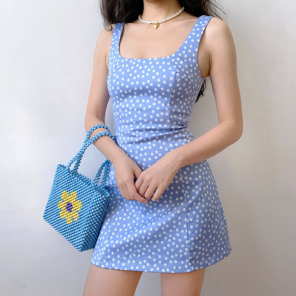 70s Blue Flower Dress ~ HANDMADE
