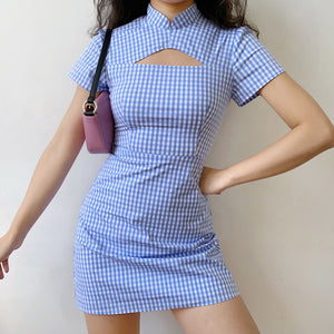 Load image into Gallery viewer, Astrid Cutout Gingham Dress ~ HANDMADE