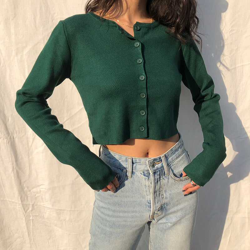 Athena Knit Top // Forest Green