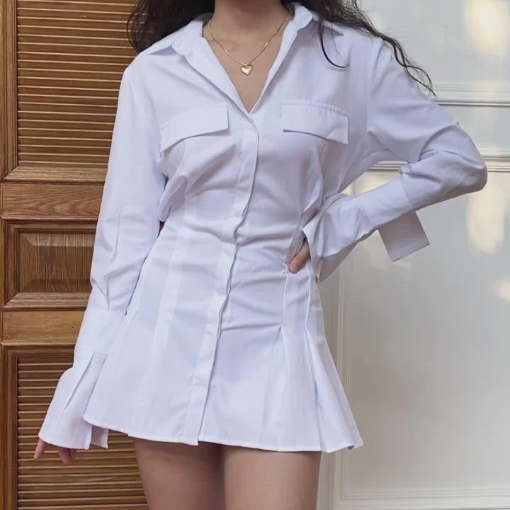 Load and play video in Gallery viewer, Trumpet Sleeve Button Up Dress