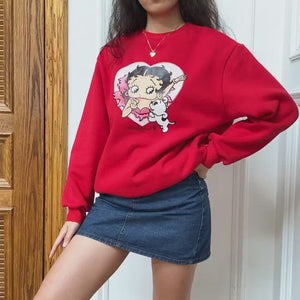 Load and play video in Gallery viewer, Miss Betty Crewneck ~ HANDMADE // Red