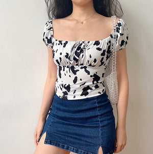 Load image into Gallery viewer, Cow Print Front Tie Top ~ HANDMADE - Pellucid