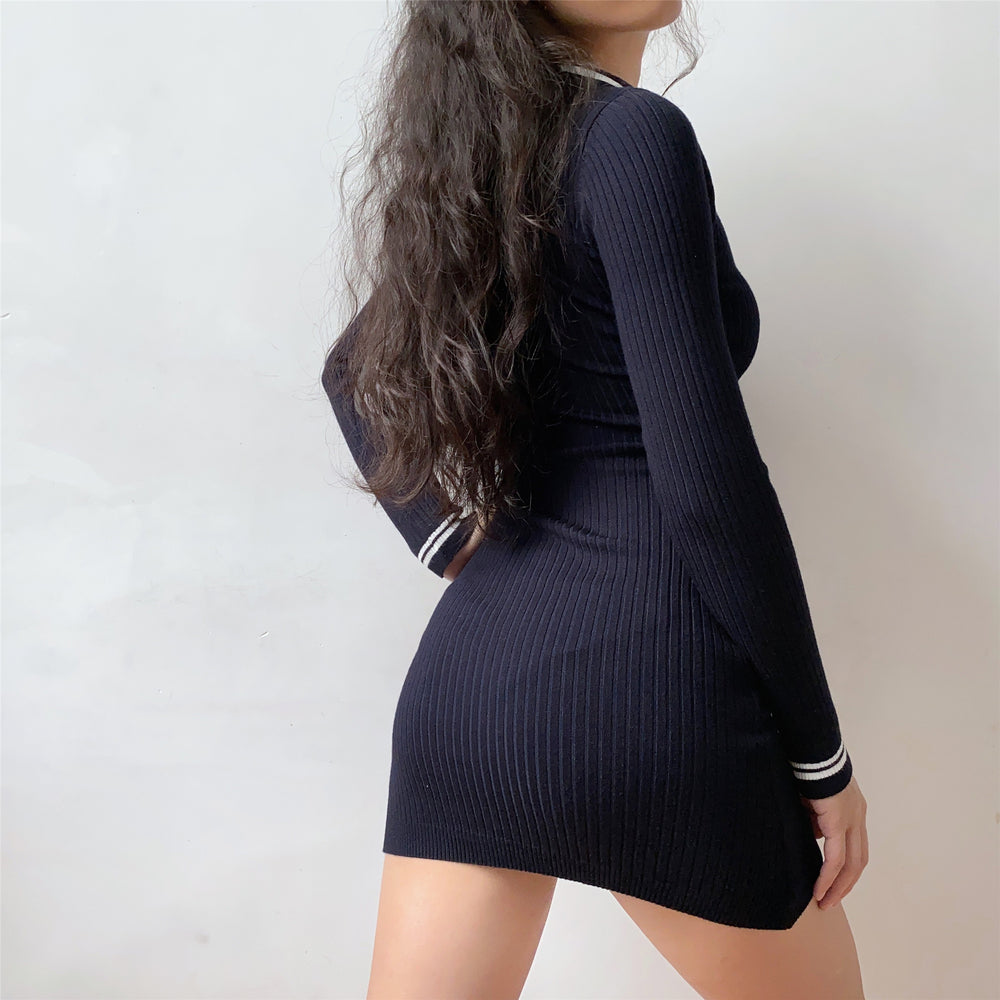 Navy Academy Polo Knit Dress ~ HANDMADE