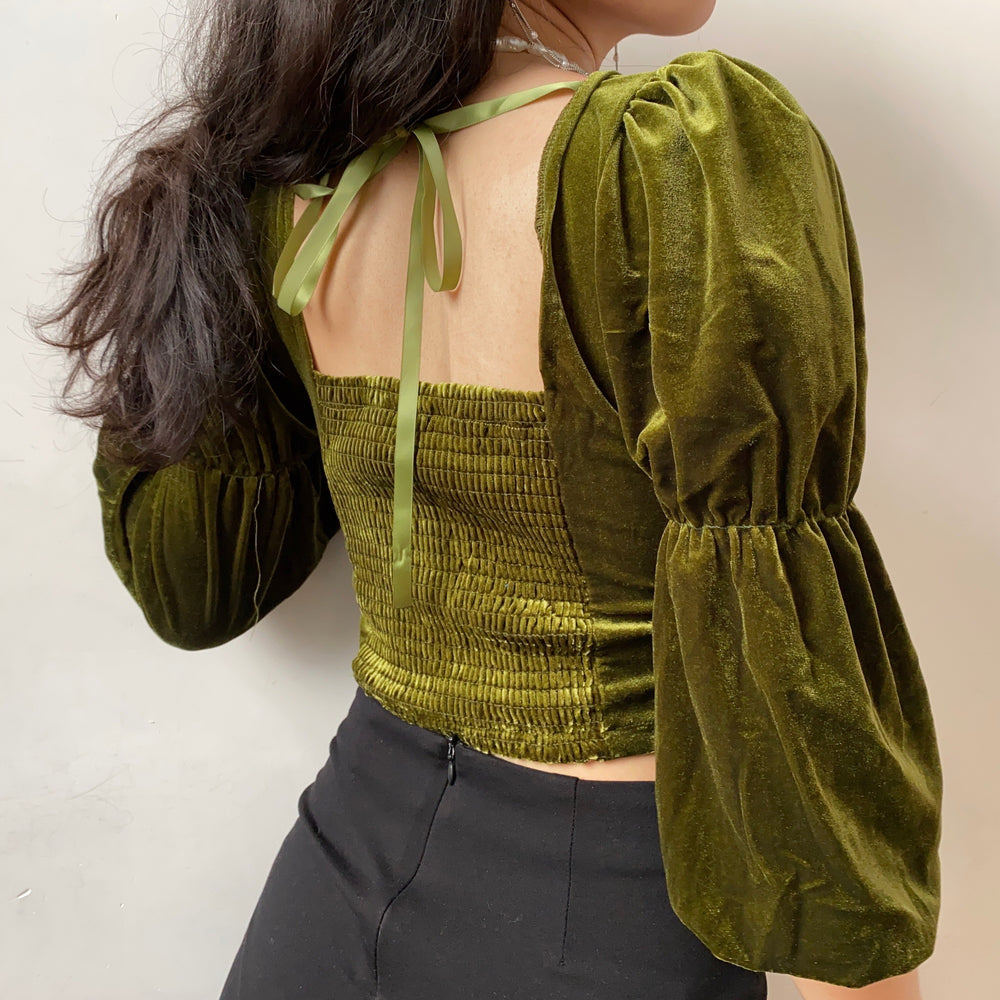 Load image into Gallery viewer, Peridot Velvet Square Collar Shirt