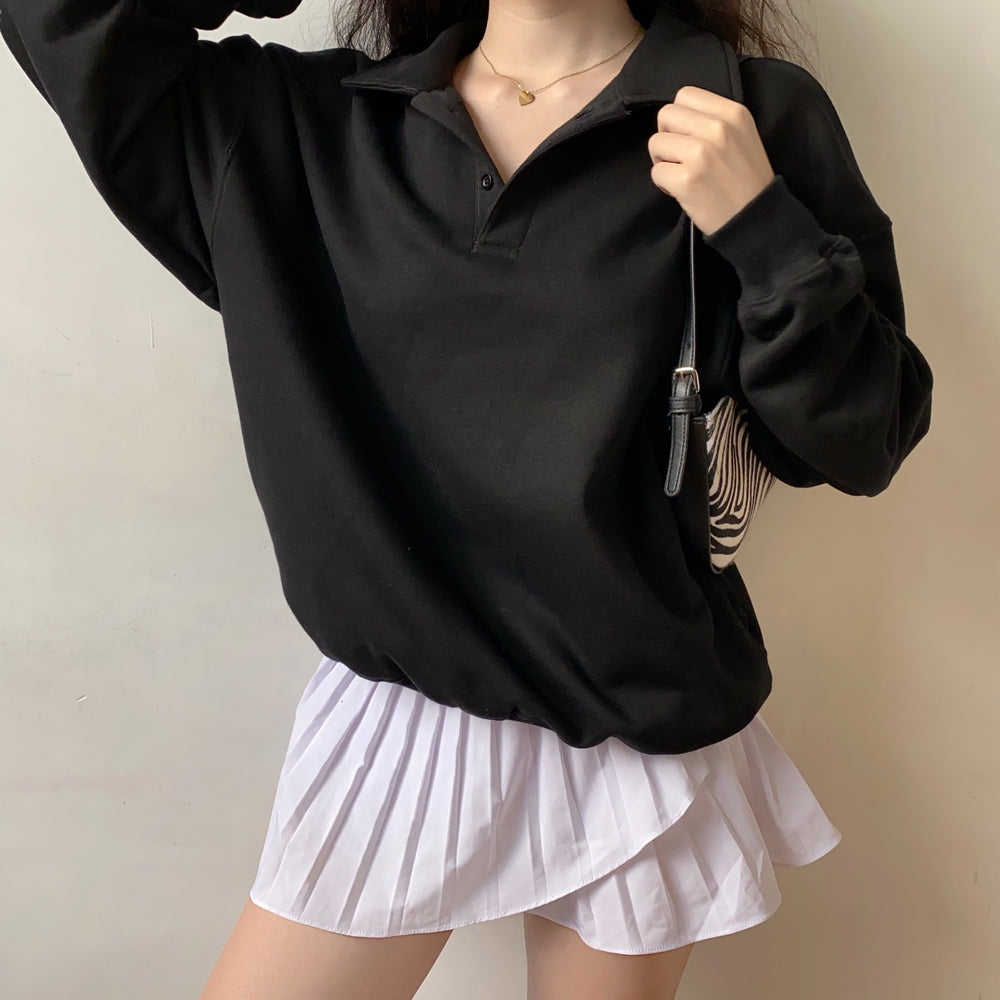 Silhouette Boyfriend Polo Sweater