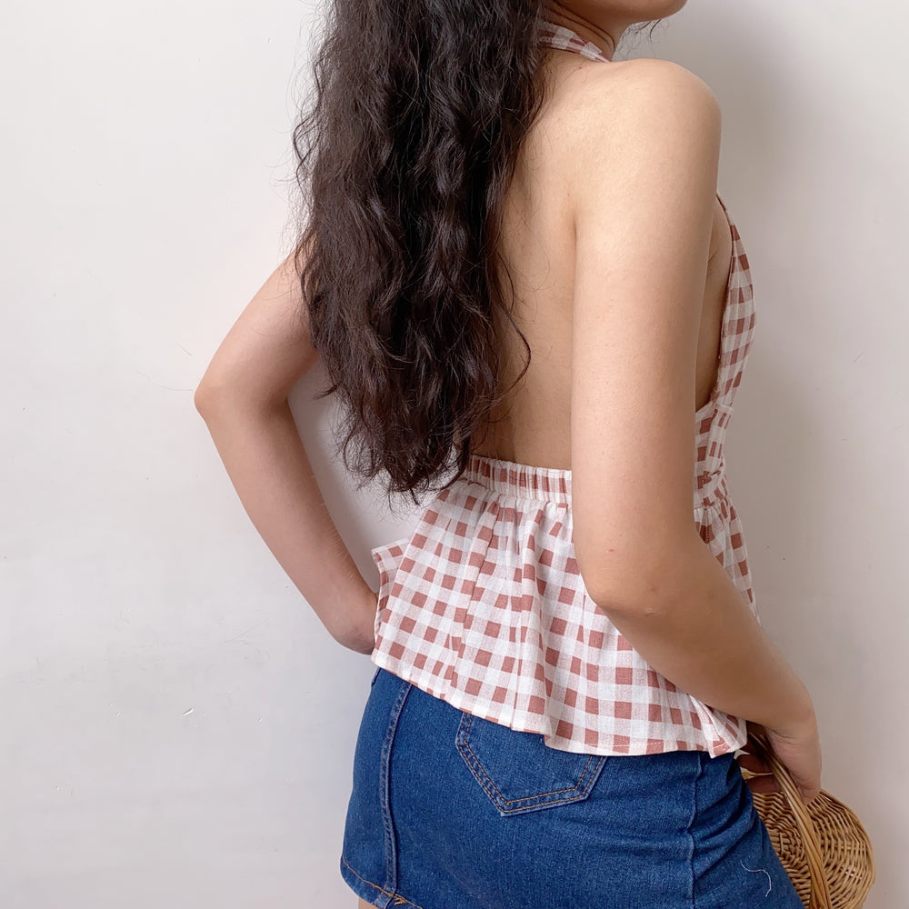 80s Buckle Plaid Vest ~ HANDMADE