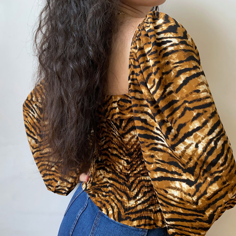 Load image into Gallery viewer, Tiger Pattern Shirred Top ~ HANDMADE