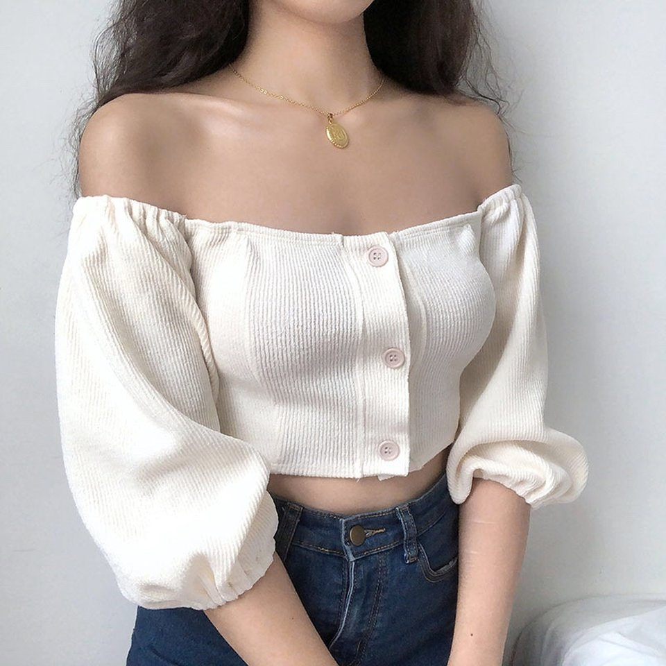 Load image into Gallery viewer, Bubble Knit Off Shoulder Top - Pellucid