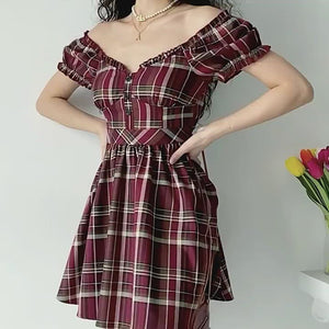 Load and play video in Gallery viewer, Zandria Plaid Bustier Dress ~ HANDMADE