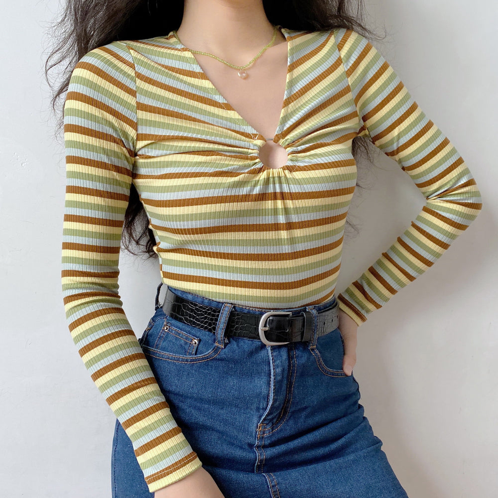 60s Hollow Ring Striped Shirt ~ HANDMADE