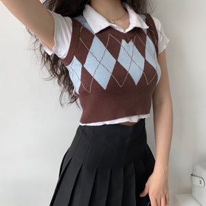 Earth & Sky Retro Argyle Vest