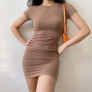 Load image into Gallery viewer, Coffee Essential Bodycon Dress ~ HANDMADE