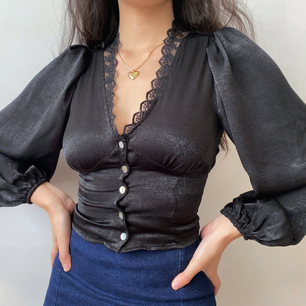 Load image into Gallery viewer, Antoinette Satin Lace Blouse ~ HANDMADE
