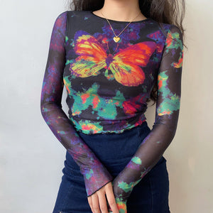 Load image into Gallery viewer, Y2k Infrared Butterfly Mesh Shirt ~ HANDMADE