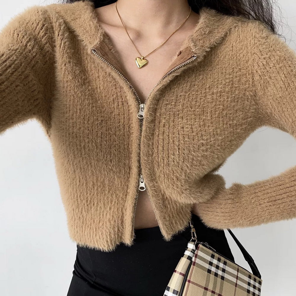 Fuzz Knit Double Zipper Cardigan