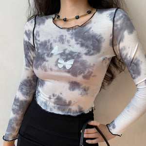 Smoke Tie-Dye Butterfly Outline Shirt ~ HANDMADE