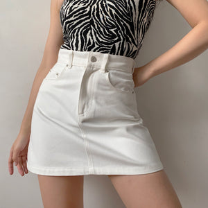 Load image into Gallery viewer, Lookbook Denim Skirt // White ~ HANDMADE