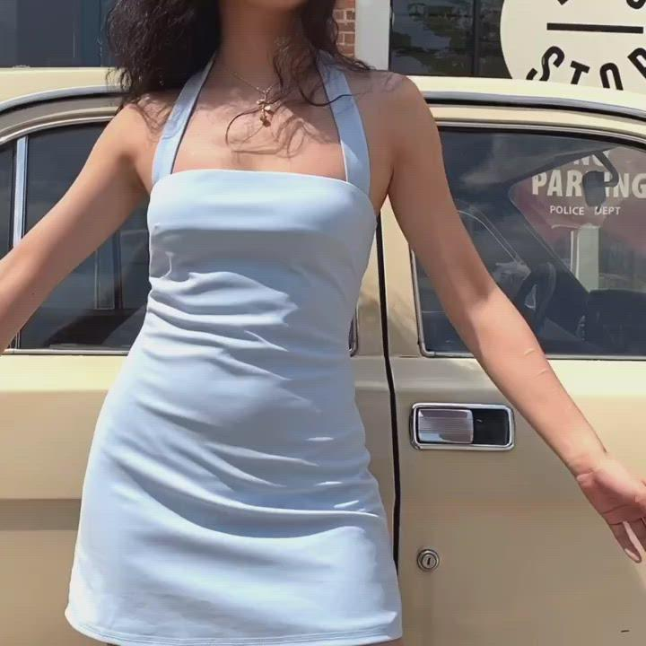 Load and play video in Gallery viewer, Belle Pin Up Halter Dress ~ HANDMADE