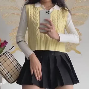 Load and play video in Gallery viewer, Canary Twist Knit Vest