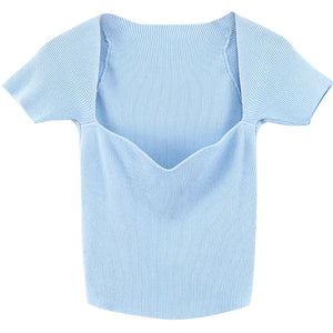 French Lover Slim Knit Top - Pellucid