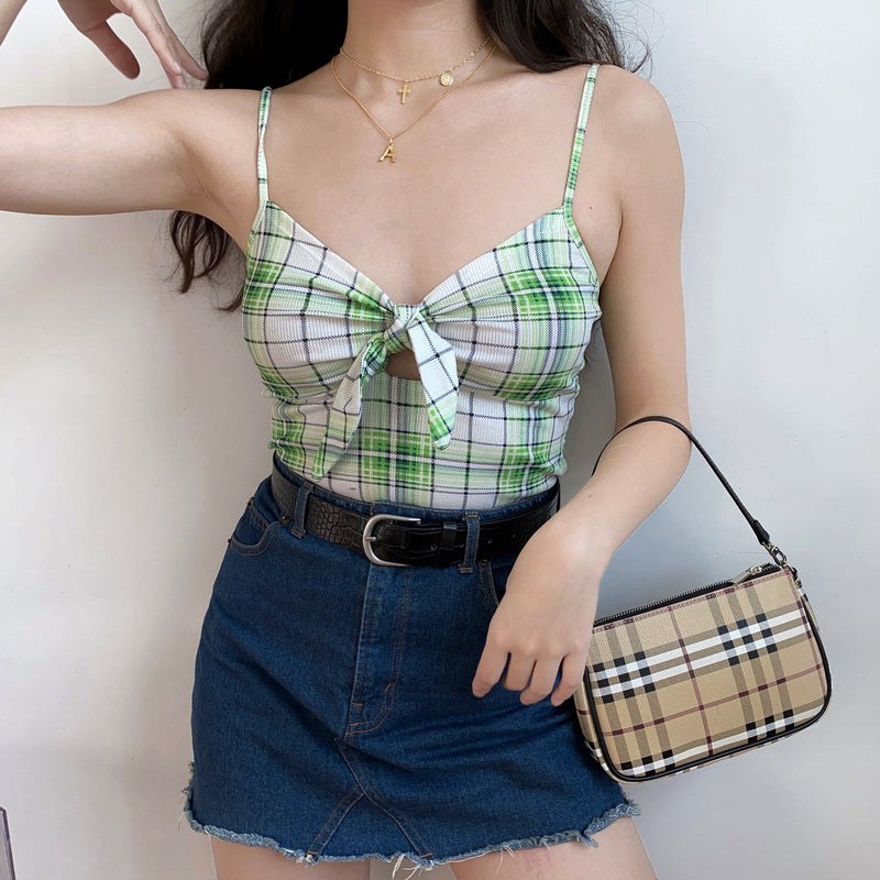 Load image into Gallery viewer, Lime Plaid Bow tie Cami [Handmade] - Pellucid