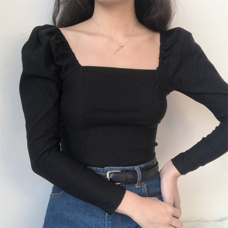 Load image into Gallery viewer, Black Slim Square Neck Top - Pellucid