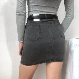 Load image into Gallery viewer, Retro High-Waisted Denim Skirt - Pellucid