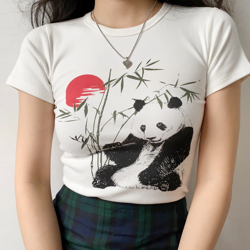 Load image into Gallery viewer, Bamboo Panda Graphic T-shirt [Handmade] - Pellucid