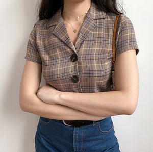 90s Lapel Plaid Button Shirt - Pellucid
