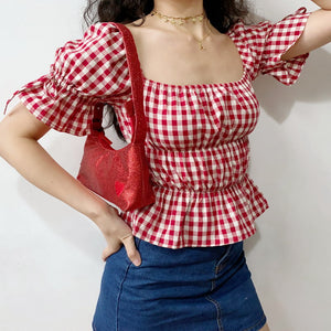 Load image into Gallery viewer, Retro Ruffled Gingham Top - Pellucid