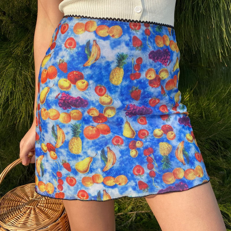Fruit Basket Mesh Skirt [Handmade] - Pellucid