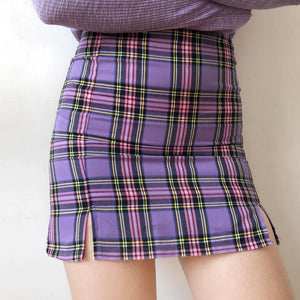 Load image into Gallery viewer, Purple Cara Plaid Skirt - Pellucid