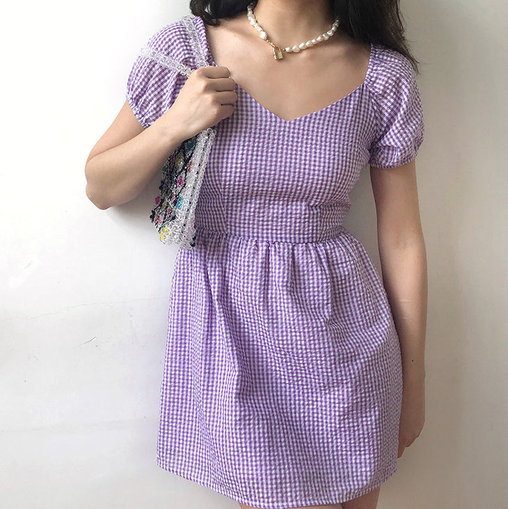 Load image into Gallery viewer, Delilah Gingham Puff Dress [Handmade] - Pellucid