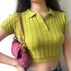 Knit Polo Crop Top - Pellucid