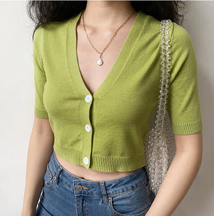 French Stretchy Knit Cardigan - Pellucid
