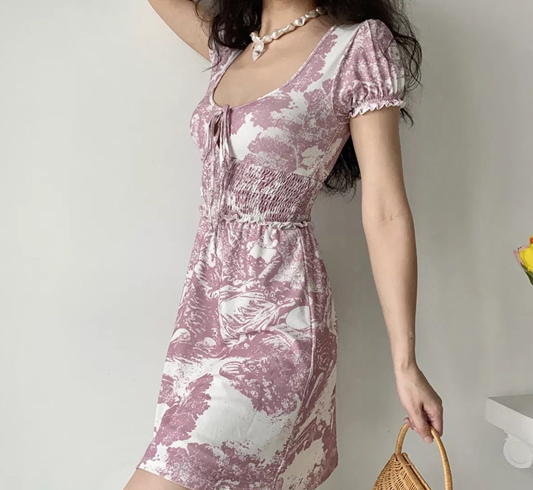 Lina Landscape Painting Dress ~ HANDMADE