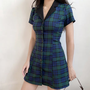 Academy Plaid Lapel Dress ~ HANDMADE - Pellucid
