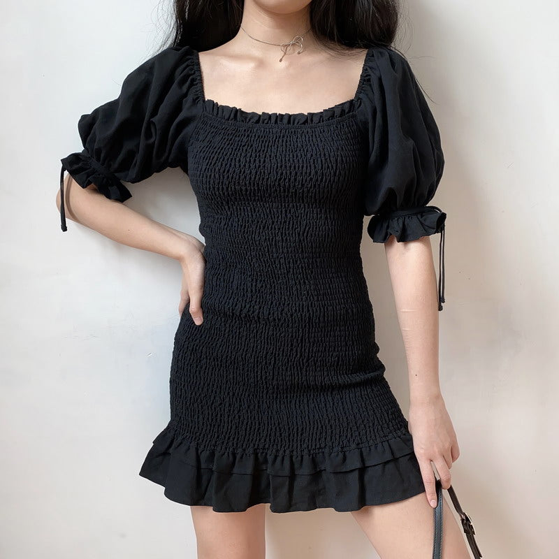 Load image into Gallery viewer, Emilia Ruffle Puff Sleeve Dress [Handmade] - Pellucid