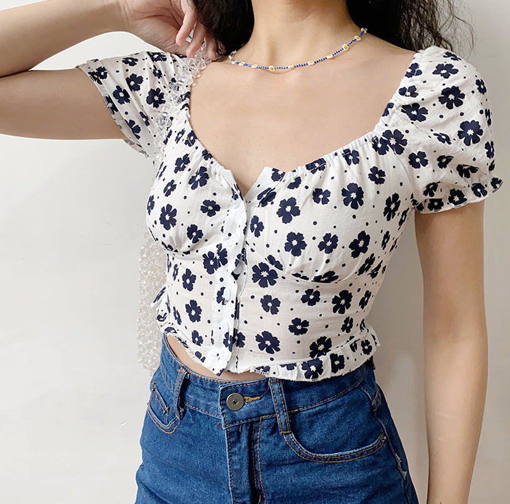 Load image into Gallery viewer, Indigo Flower Bustier Top - Pellucid